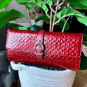 COACH Wristlet bag Red Embossed Pattern Clutch